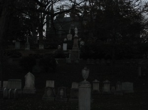 Graves at Dusk at Mount Auburn Cemetery