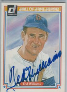 Ted Williams Signed Card